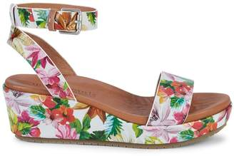 Gentle Souls Morrie Floral Leather Ankle-Strap Wedge Sandals