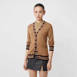 Burberry Icon Stripe Detai Merino Woo Cardigan