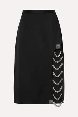 Christopher Kane Embellished Leather-trimmed Satin Skirt - Black