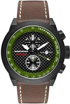 Glam Rock Men's Racetrack 48mm Brown Leather Band IP Steel Case Swiss Quartz Black Dial Watch GRT29117F