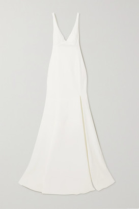 Rime Arodaky Enola Tie-detailed Open-back Embroidered Tulle And Crepe Gown - White