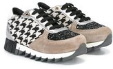 Dolce & Gabbana houndstooth check sneakers - kids - Leather/Suede/Calf Hair/rubber - 35