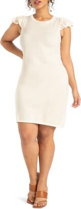 ELOQUII Ruffle Shoulder Sweater Dress
