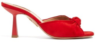 Aquazzura Pasha 75 Knotted Suede Mules - Womens - Red