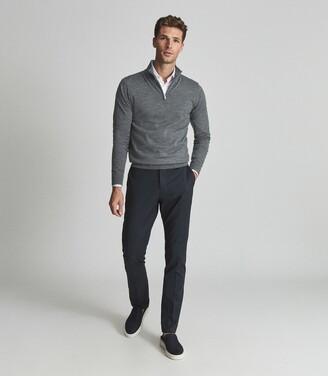 Reiss Blackhall - Merino Wool Zip Neck Jumper in Mid Grey Melange