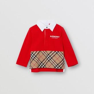 Burberry Childrens Long-sleeve Vintage Check Panel Cotton Polo Shirt