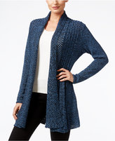 NY Collection Marled-Knit Open-Front Cardigan