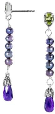 Carolyn Pollack Amethyst, Peridot and Pearl Earrings in Sterling Silver