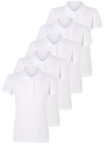 George Girls White School Scallop Polo Shirt 5 Pack