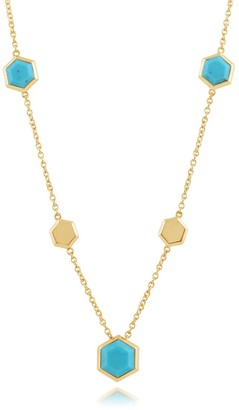 Gemondo Turquoise Hexagon Chain Necklace in Gold Plated Silver