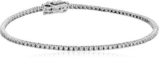 Amazon Collection 1 Carat Certified 14K White Gold Diamond Tennis Bracelet with Double Click Safety Clasp