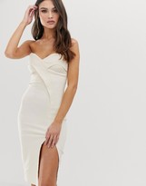 Vesper bandeau midi dress with thigh split in stone