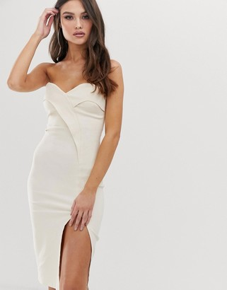 Vesper bandeau midi dress with thigh split in stone