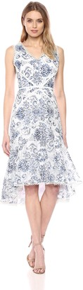 Taylor Dresses Women's Sleeveless hi-Low Burnout lace Dress