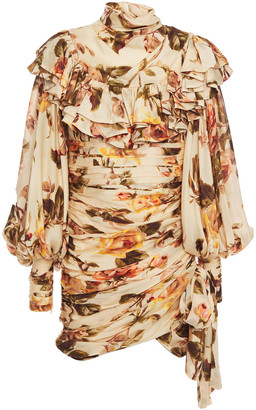 Zimmermann Ruffled Floral-print Silk Crepe De Chine Mini Dress
