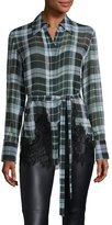 McQ by Alexander McQueen Fluid Tartan Plaid Silk Blouse, Green