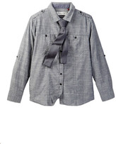 Sovereign Code Charcoal Chambray Shirt & Tie Set (Big Boys)