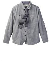Sovereign Code Charcoal Chambray Shirt & Tie Set (Big Boys)