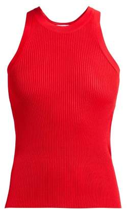 MSGM Ribbed-knit Racer-back Top - Womens - Red