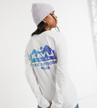 Kavu Logo long-sleeved T-shirt in white Exclusive to ASOS
