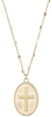 Jennifer Zeuner Jewelry Taryn 14K Yellow Gold Vermeil Cross Medallion Necklace