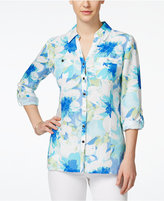 JM Collection Linen Floral-Print Shirt, Only at Macy's