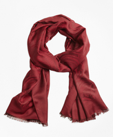 Brooks Brothers Jacquard Silk Wool Fringe Scarf