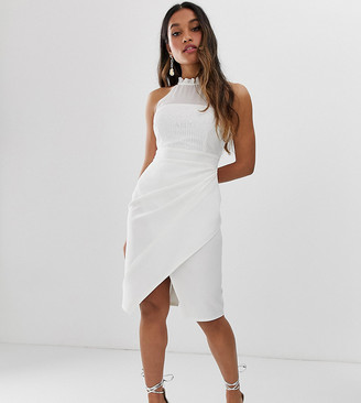 Paper Dolls Petite wrap front midi dress with lace top in white