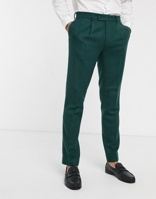 Asos DESIGN wedding slim suit pants in wool mix texture in green