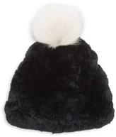 Glamour Puss Glamourpuss Signature Knit Rex Rabbit Fur & Fox Fur Pom-Pom Hat