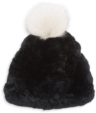 Glamour Puss Signature Knit Rex Rabbit Fur & Fox Fur Pom-Pom Hat