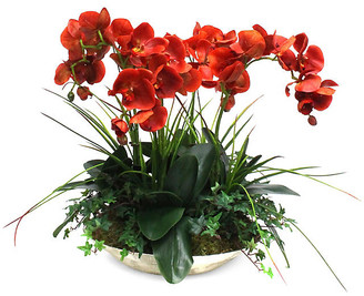 """One Kings Lane 24"""" Orchids & Greenery Arrangement with Vase - Faux"""