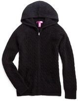 Aqua Girls' Cashmere Cableknit Hoodie - Sizes S-XL