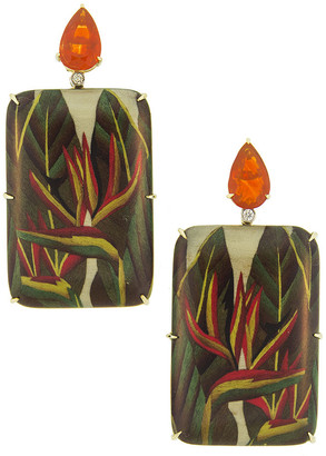 Silvia Furmanovich 18k Marquetry Heliconia Rectangular Drop Earrings