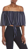 Love Tree Striped Self-Tie Crop Top