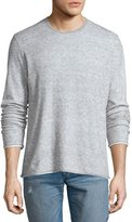 Rag & Bone Tripp Melange Long-Sleeve Crewneck Shirt, Light Gray