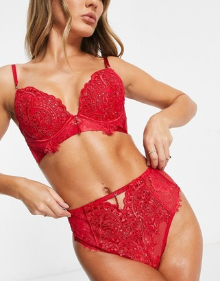 Ann Summers Fiercely Sexy sequin and lace detail high waisted thong in red