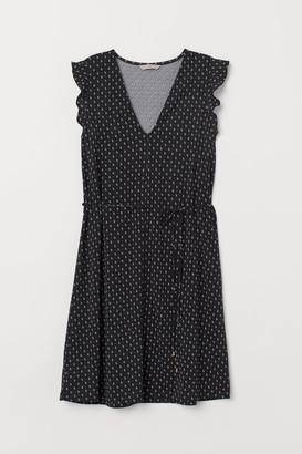 H&M V-neck Jersey Dress - Black