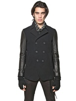 John Varvatos Wool Cloth & Nappa Leather Pea Coat