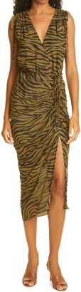 Veronica Beard Teagan Tiger Stripe Print Ruched Silk Dress