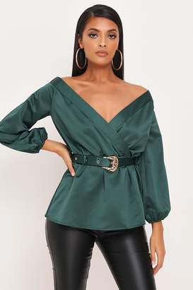 I SAW IT FIRST Emerald Satin Buckle Belt Blouse