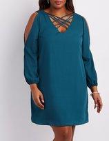 Charlotte Russe Plus Size Lattice-Front Split Sleeve Dress