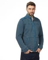 Mantaray Big And Tall Dark Turquoise Pique Zip Through Sweater