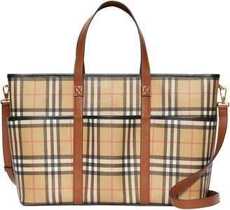 Burberry Parker Archive Check Coated Canvas Diaper Tote Bag