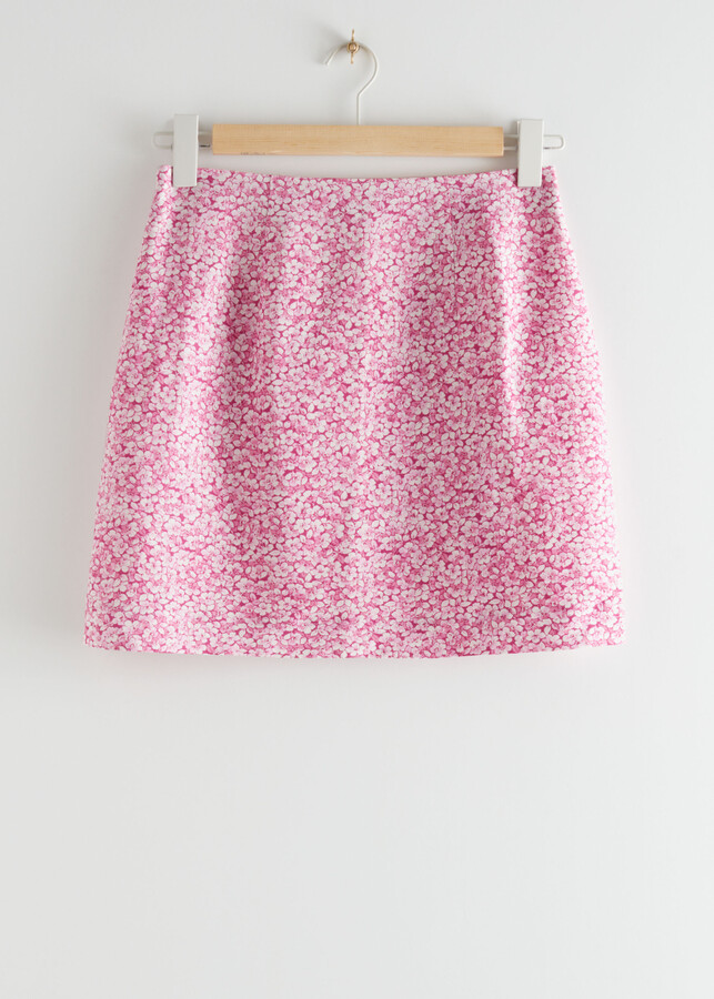 And other stories Floral Linen-Blend Mini Skirt