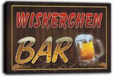 AdvPro Canvas scw3-098287 WISKERCHEN Name Home Bar Pub Beer Mugs Cheers Stretched Canvas Print Sign