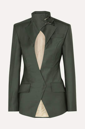 Situationist Jack Cutout Wool-blend Blazer - Dark green