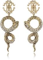 Roberto Cavalli Golden Brass Snake Earrings w/Crystals