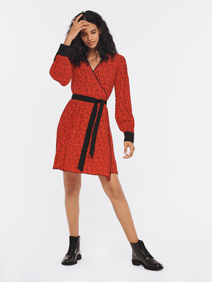 Diane von Furstenberg Jimena Viscose Crepe de Chine Mini Wrap Dress