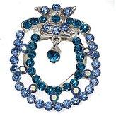 AJ Fashion Jewellery Picea tone Blue Crystal Scarf Clip